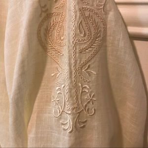 Embroidered linen tunic pearl buttons swim cover